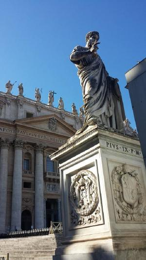 This is supposed to be a statue of St. Peter, but the inscription says Pius IX