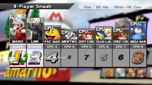 Posted in MiiVerse's Super Smash Bros. for 3DS/Wii U Community: I was bored so I had two amiibos play a 99 minute 8 man smash