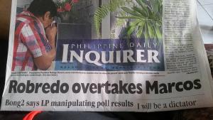 """Bad form Philippine Daily Inquirer (Official), is""""Bong2"""" really part of your editorial style? Also nice use of the fold to conveniently cut """"I will be a dictator…"""""""