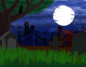 Graveyard encounter #sketchdaily #procreate Playing around with Procreate a bit