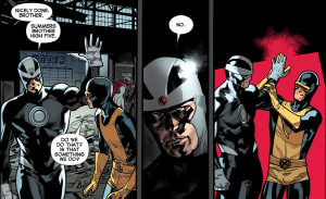 All New X-Men #14 by Brian Michael Bendis and Stuart Immonen. Summers brothers high five!