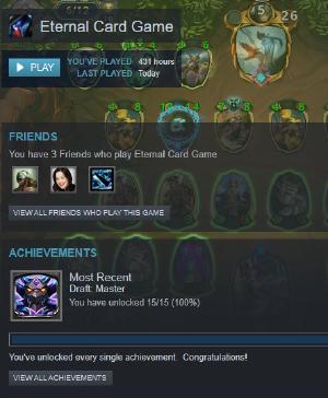 After 1 year and 400+ hours of F2P with @EternalCardGame, I finally managed to hit draft master, the final achievement I needed to complete the Steam achievements (there's a lot more in-game though)