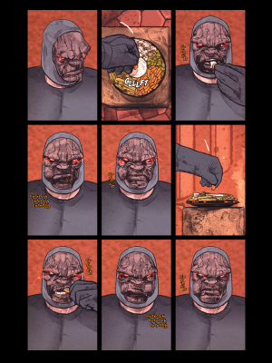 Darkseid eating from a veggie tray. Mister Miracle #11 by Tom King and Mitch Gerads