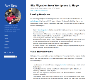 Site Migration from Wordpress to Hugo