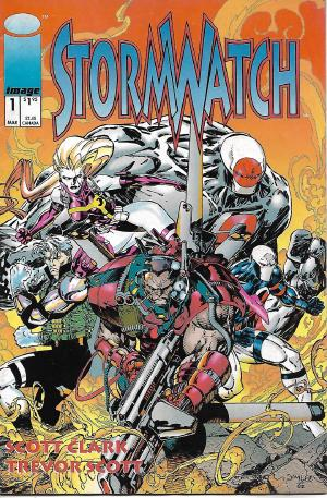 Stormwatch #1 by Brandon Choi, Jim Lee, Scott Clark, Trevor Scott. I found my copy of this while cleaning up, the only issue I've ever read from this series. See that guy named Winter on the 2nd inside page? I remember reading this issue back in the 90s and wondering wth he was doing, it was never explained (in this issue)