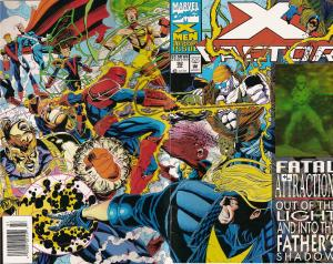 X-Factor #92 cover by Joe Quesada. This is one of my favorite covers of all time (despite the hologram), but I can no longer find my physical copy of it, not sure if I sold it off before. More annoying is that the Marvel Unlimited version of this issue does not include the wraparound cover! The above image is sourced from http://marvel.wikia.com/wiki/X-Factor_Vol_1_92