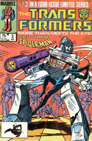 It's Spider-Man week on ireadcomicbooks! Spider-Man was the only Marvel superhero to guest star in the Transformers comic series by Marvel which ran from 1984-1981. Here he is duking it out with Megatron in the cover to Transformers #3 by Frank Springer