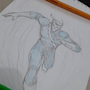 Pietro, whose head looks a bit too small. Cribbed the pose off a Jim Lee Flash sketch. Well, learn from the best amirite? Pencils only this time. #sketch #xmen #quicksilver