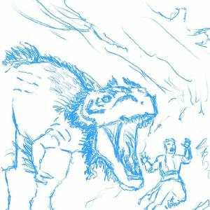 Charging monstrosaur from ixalan rough sketch #sketchdaily #mtg. This is one of those things where I'd like to flesh it out and color it but I don't have time and I'm already a few days behind on the daily sketches. maybe I'll revisit it in the future