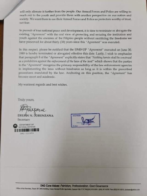 JUST IN: In a letter addressed to UP Pres. Danilo Concepcion, Department of National Defense (DND) Secretary Delfin Lorenzana says the UP-DND Accord, an agreement that keeps state forces from entering the premises of the University, is terminated effective January 15. #DefendUP