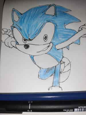 Gotta go fast #sketchdaily 20/365 In the Sonic the Hedgehog movie, his arms are blue.