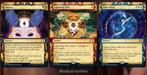 "Both the normal and alt art Strixhaven mystical archive treatments are probably my favorite ""expedition"" -style treatments of all time. Glad these are coming to #magicarena #mtg"