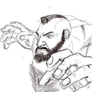 "Zangief #sketchdaily 87/365 (The prompt was actually for ""worst movie you've ever seen"", but my excuse is that the campy live action Street Fighter movie was one of my favorite ""worst movies"" ever, and Zangief was one of the funniest characters there.)"