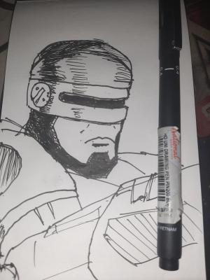 Robocop #sketchdaily 117/365 This is terrible lol. Also I already had to redo it once because I didnt realize at first that the visor covers his nose