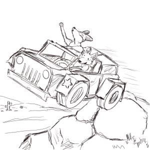 Joyriding jackals in a jumping jeep #sketchdaily 123/365