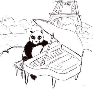 A panda playing piano in Paris #sketchdaily 129/365