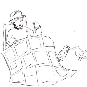The queen quilting while some quail quarrel #sketchdaily 130/365