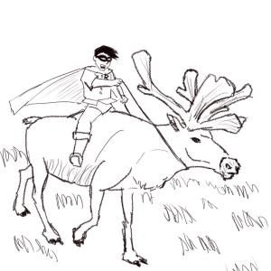 Robin riding a reindeer #sketchdaily 131/365