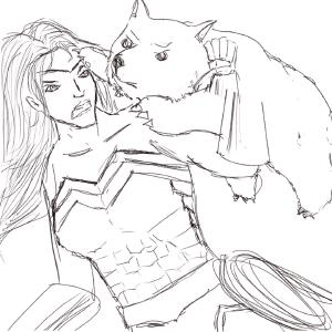 Wonder Woman wrestles a wild wombat #sketchdaily 136/365 (Correction: 137/365) Sigh, typo D: (Corrected)