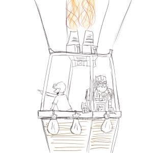 Hot air balloon ride #sketchdaily for June 1 (almost there!) 151/365 Just realized I made a counting mistake around 40 sketches ago, so this one should be 152/365 instead