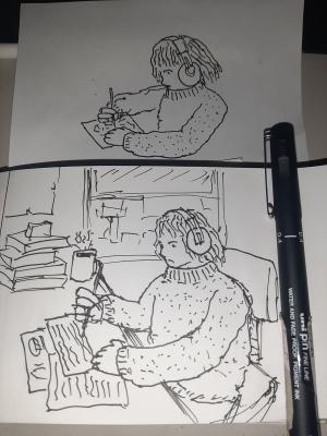 Big cozy sweater #sketchdaily 178/365 (with failed first attempt)