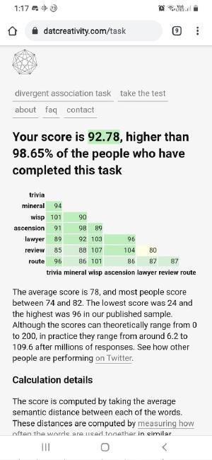 Divergent association task thingy: https://www.datcreativity.com/task PHOTOS PLACEHOLDER